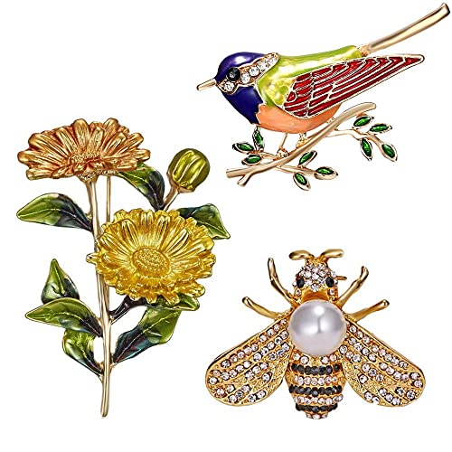 2f677bbb2 3 PCS Women Girls Brooches Pins, Flower Bird Enamel Lapel Pin, Honey Bee  Pearl