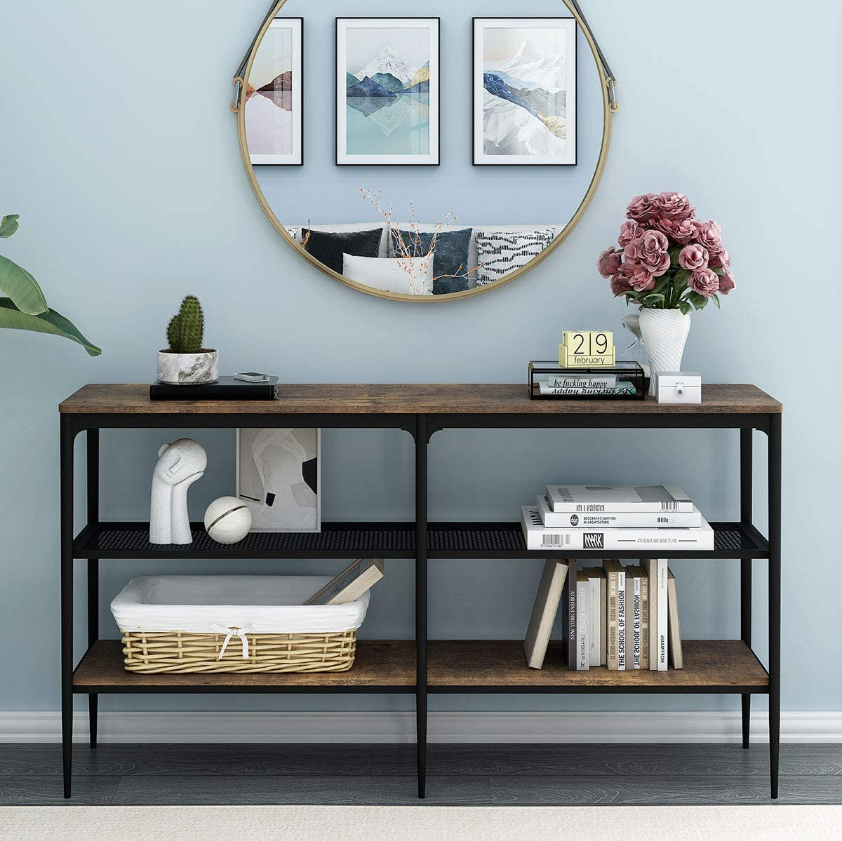 O&K Furniture 3-Tier Industrial Entryway Console Table, Narrow Long Sofa Table with Storage Shelves, Hallway Hall Table for Living Room, Vintage Brown