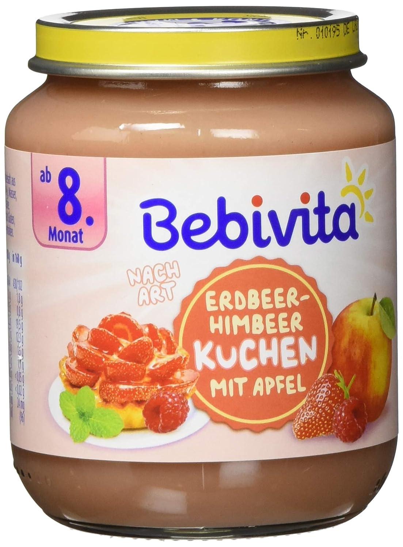 Bebivita Dessert Nach Art Erdbeer-Himbeer-Kuchen mit Apfel, 6er Pack (6 x 160 g) 1478