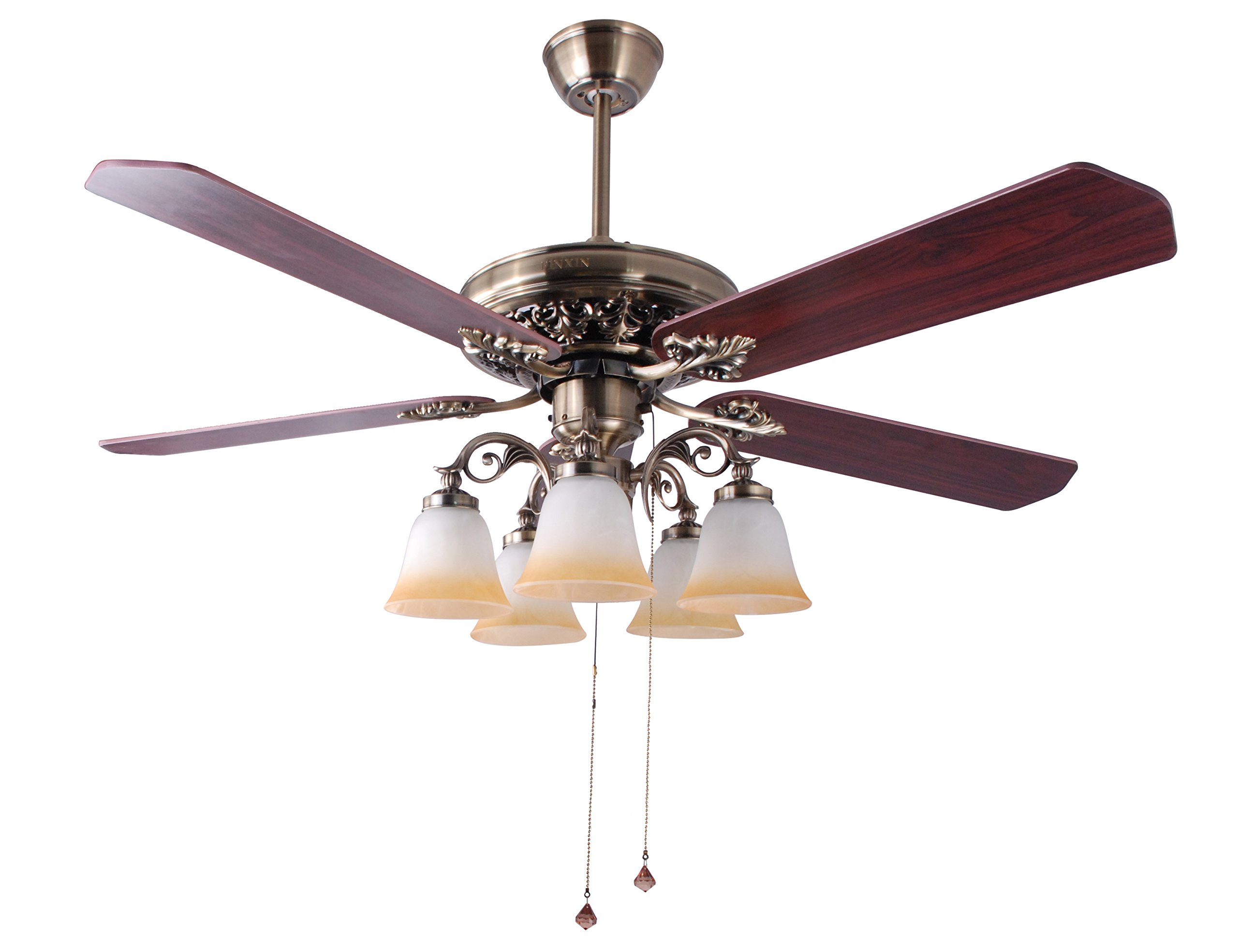 Indoor Ceiling Fan Light Fixtures - FINXIN FXCF03 (New Style) New Bronze Remote LED 52 Ceiling Fans For Bedroom,Living Room,Dining Room Including Motor,Light(5-LED 25W),5-Blades,Remote Switch