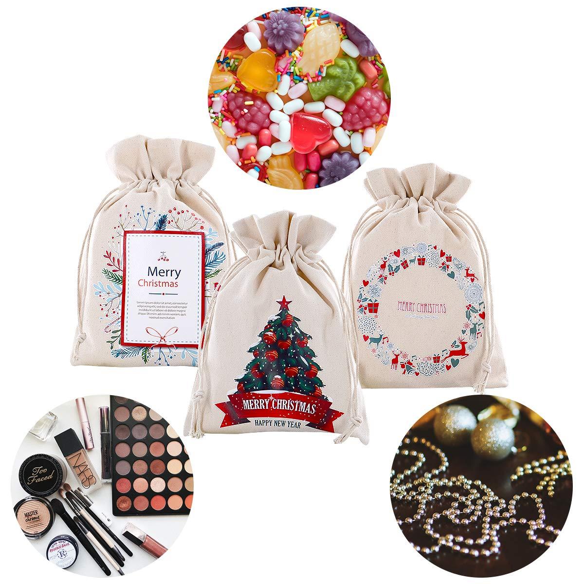 Weihnachts Geschenkt/üten Kleine s/ü/ße Geschenktaschen Weihnachts-Leinensack mit Kordelzug Wiederverwendbare Hessian Bags Bulk 23,5x 16,5cm Leinenbeutel