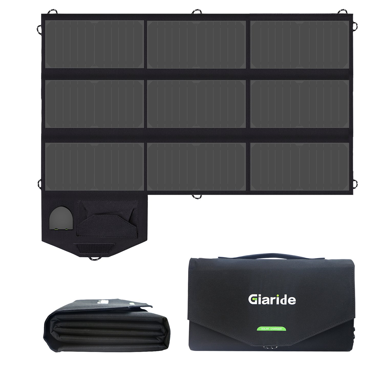 GIARIDE 18V 60W Foldable Sunpower Panel Solar Charger 5V USB/18V DC Output, Portable Pack for Laptop, Notebook, Tablet, iPad, iPhone, Samsung, Car/Boat/RV Battery, Hiking, Climbing, Camping and More