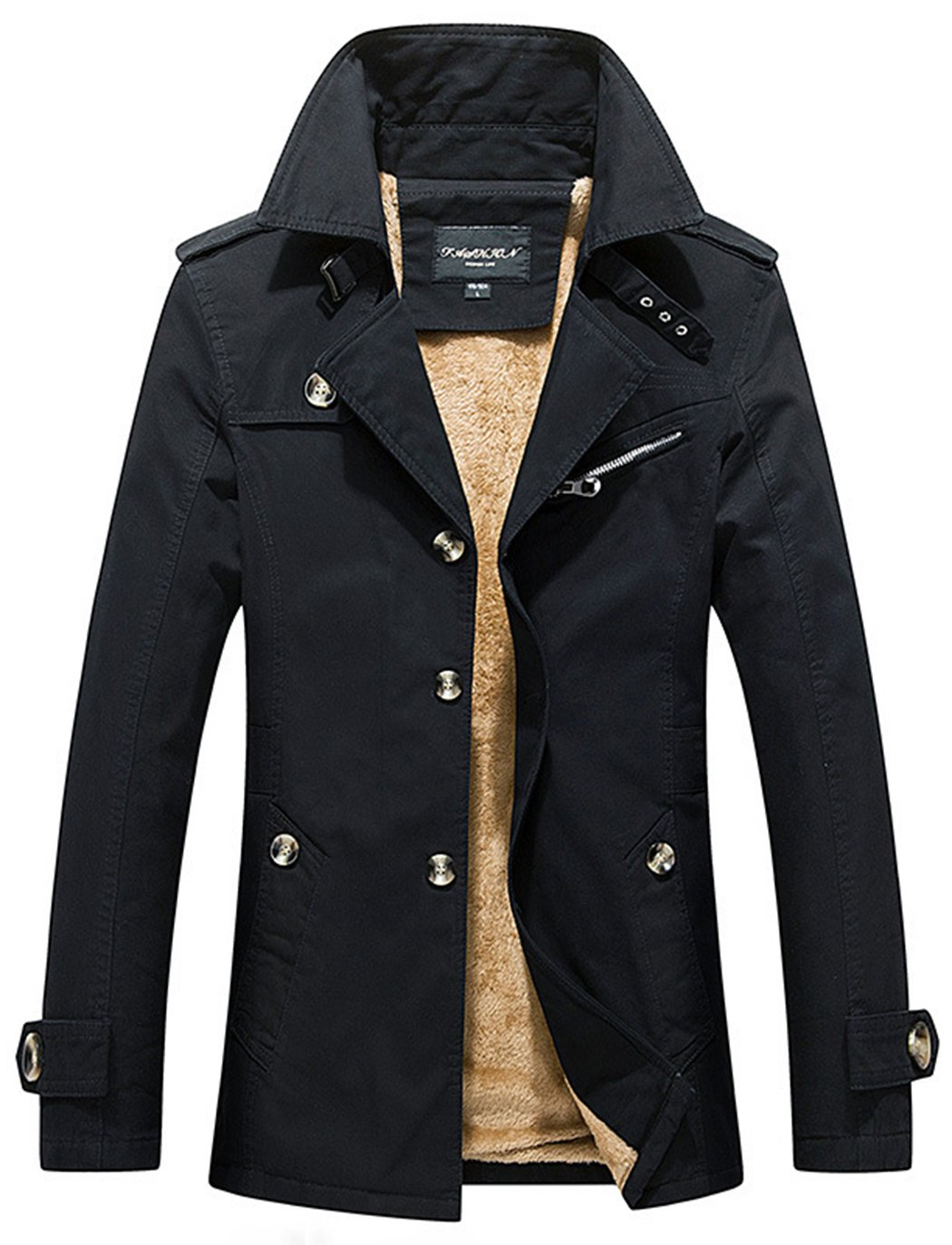 Sawadikaa Men's Single-Breast Lightweight Cotton Jacket Coat with Fleece Pea Coat Windbreaker Wind Trench Black Medium by Sawadikaa