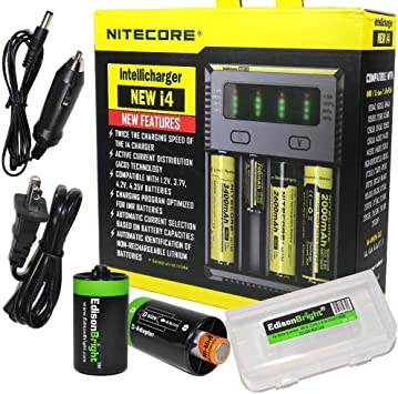 NITECORE i2 Intellicharger Li-ion Smart Charger 2 Slot 18650+Car Charger Adapter