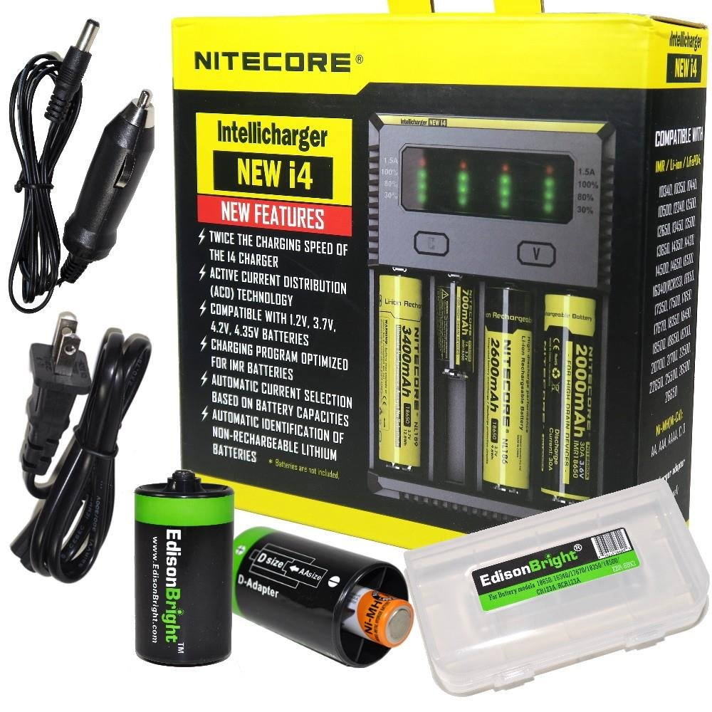 NITECORE New i4 battery Charger For Li-ion / IMR / Ni-MH/ Ni-Cd 18650 18350 16340 RCR123 14500 AA AAA D C w/ Ac and 12V DC (Car) power cords, EdisonBright BBX3 battery box, 2 X AA to D type batteries