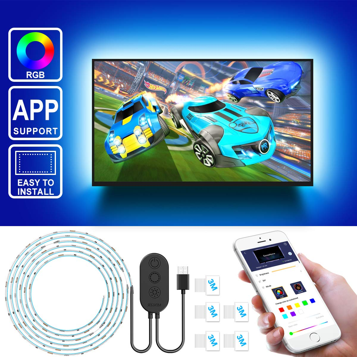 """Led Strip Lights for TV with APP, Govee 6.56FT RGB LED TV Backlights 5050 TV Lights Kits, Multi DIY Color Accent LED Strips with 3M Tape and 5 Clips, Adjustable Brightness and USB Powered (40""""-60"""")"""