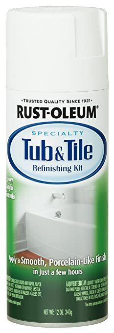 Rust Oleum 280882 Specialty Tub And Tile Spray Paint, 12 Ounce, White