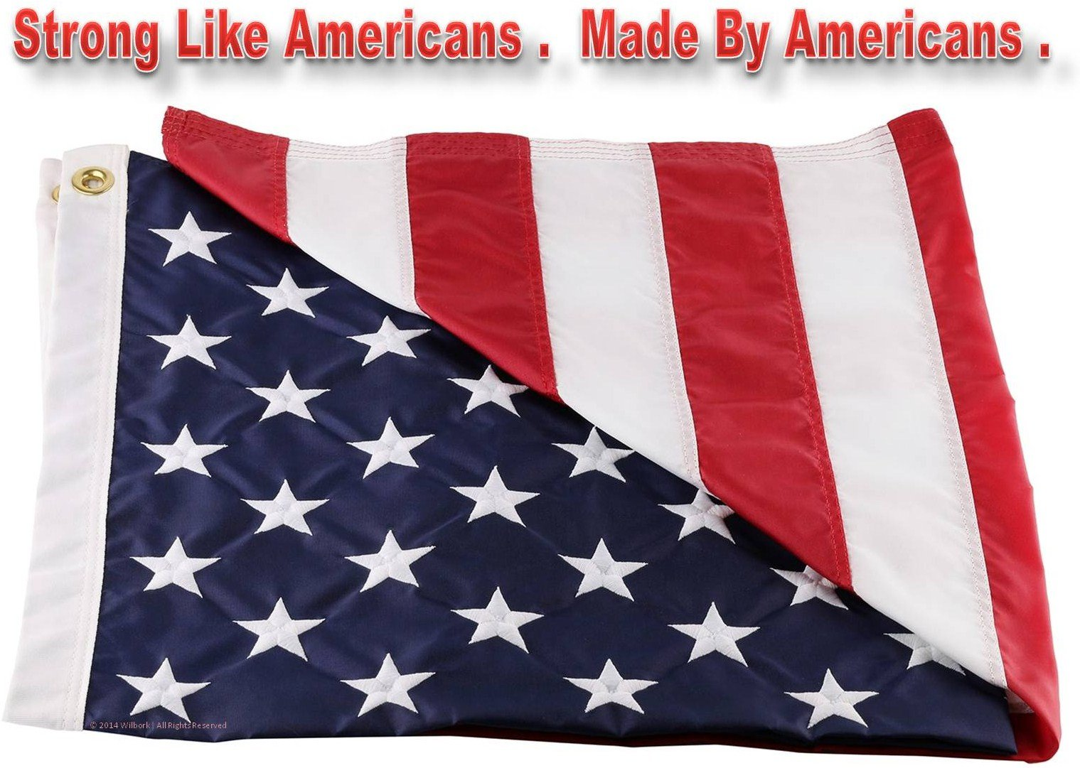 Wilbork American Flag - 100% Made in USA - Strong Like Americans Made by Americans: Embroidered Stars - Sewn Stripes 6x10 ft Outdoor Flag by Wilbork (Image #4)