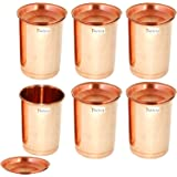 Prisha India Craft Copper Tumbler with Lid, 350ml, Gold (Pack of 6)