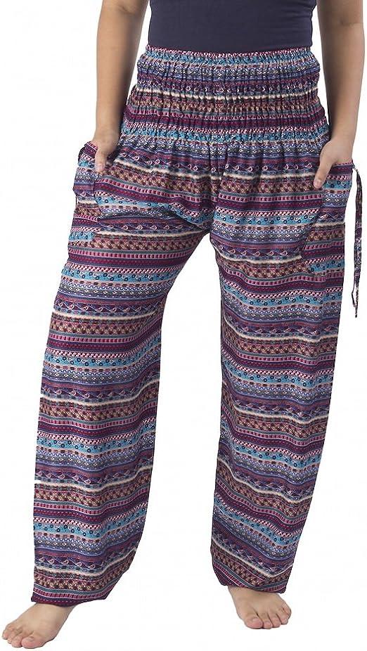 Lannaclothesdesign Womens Smocked Waist Paisley Print Rayon Yoga Harem Pants
