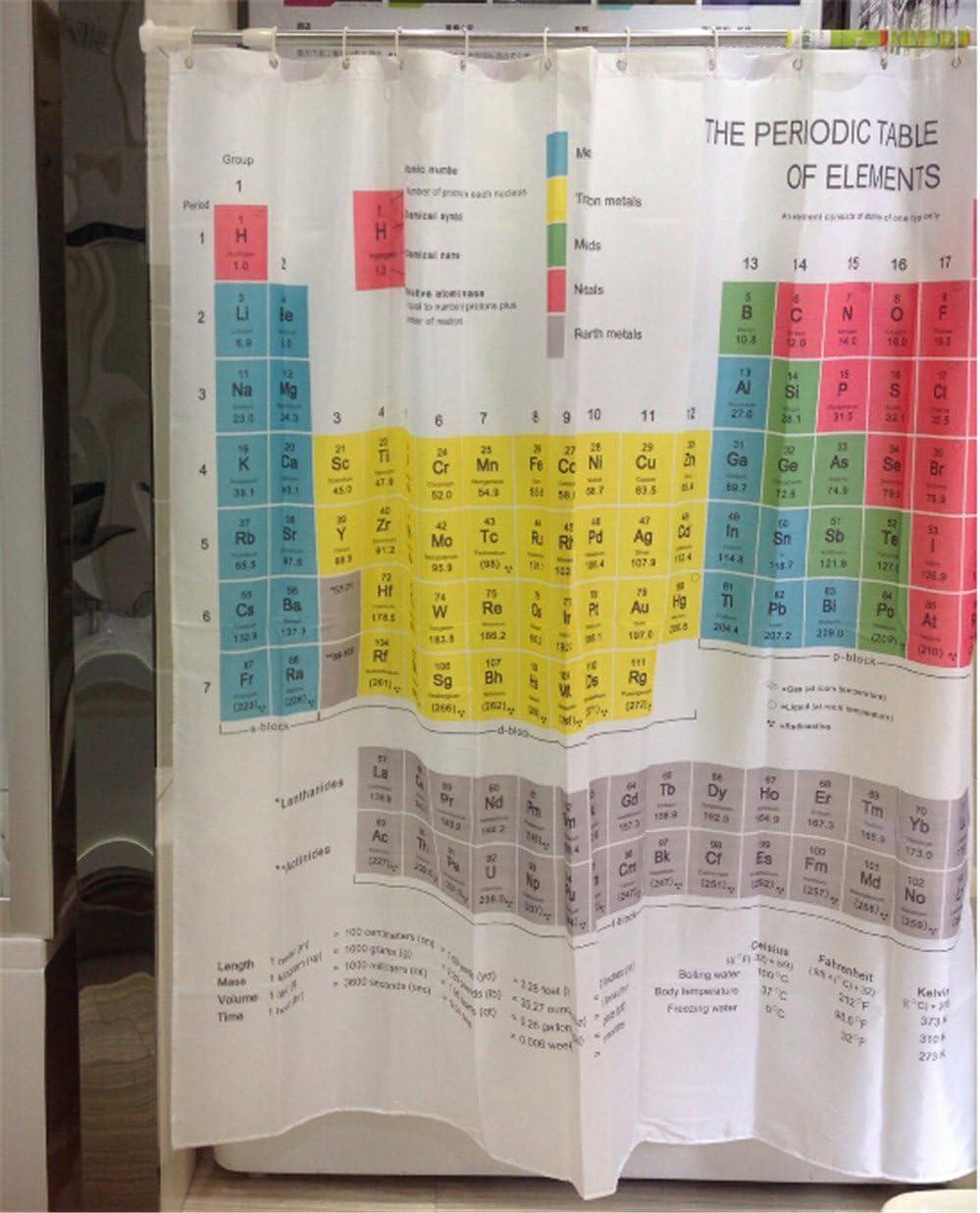 180 cm tissu rideau de douche Liner tableau périodique des éléments bain rideaux