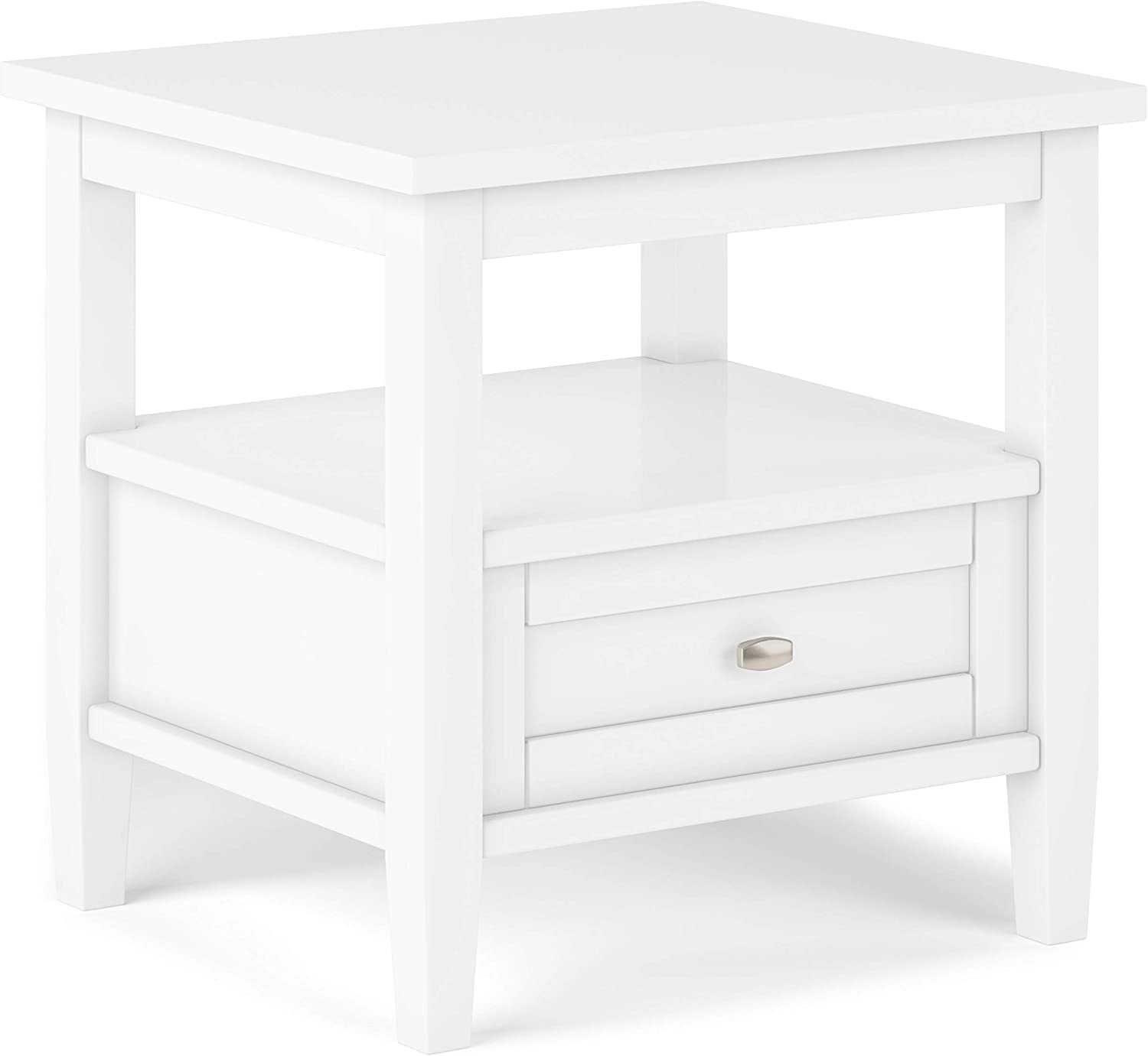 SIMPLIHOME Warm Shaker SOLID WOOD 20 inch wide Rectangle Rustic Contemporary End Side Table in White with Storage, 1 Drawer and 1 Shelf, for the Living Room and Bedroom