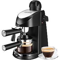 Aicook Máquina de café, Cafetera Espresso, Capuchino y Máquina de Espresso, Evaporador de Leche, 4 Tazas de café, Presión DE 3,5 Bares, 800W, Negro