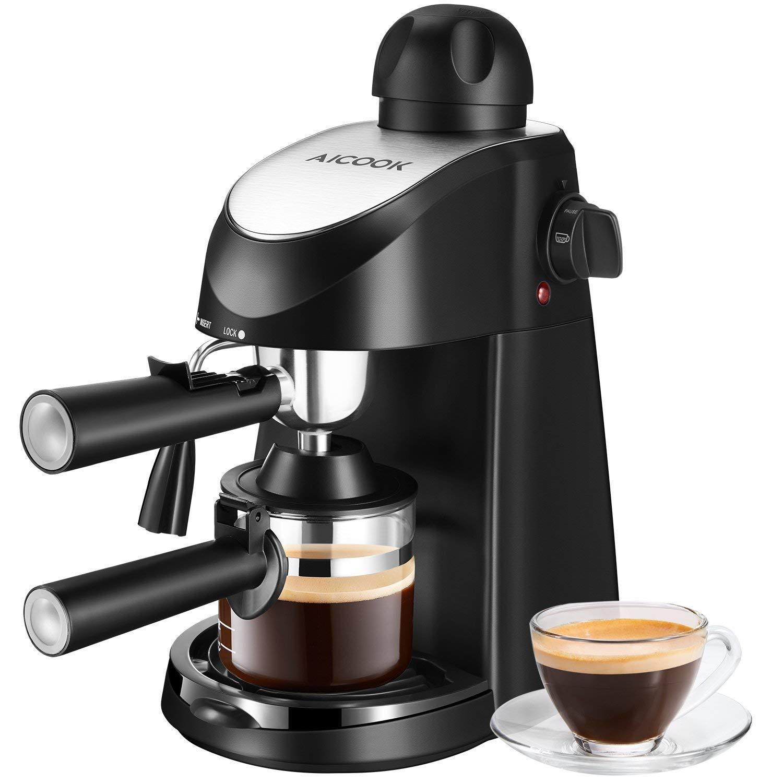 Macchina per Caffe Aicok, Macchina per Caffe Italiana per Espresso e Cappuccino con Vaporizzatore, 4 Tazze di Caffe, Pressione di 3.5 Bar, 6816, 800W