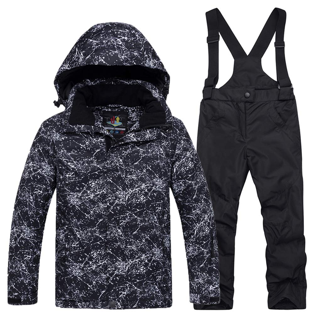 GS SNOWING Boys Girls Ski Jacket and Pants Waterproof Snow Insulated Snowsuit (02Black, L=H:4.2-4.6ft;W:72-84Lb)