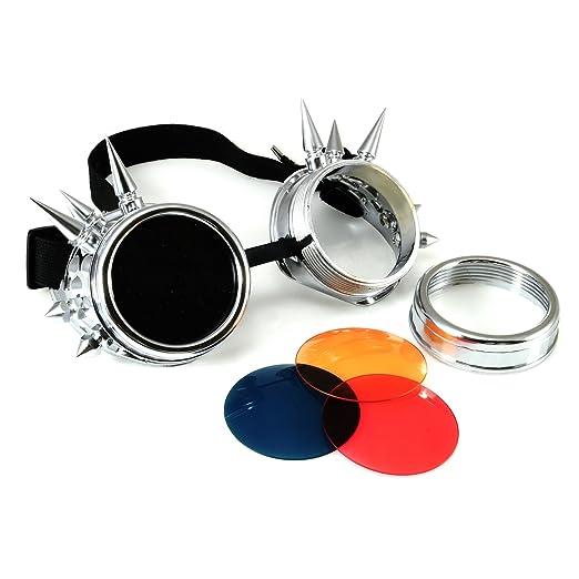 4sold Lunettes de soleil cyber Design à pics style punk noir Or Taille universelle gHLoW51GY0