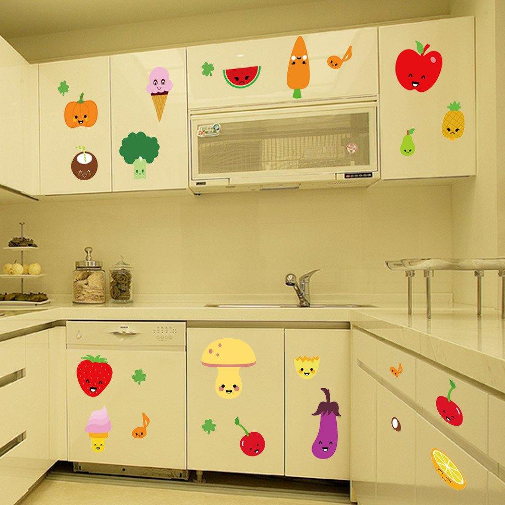 Amazon.com : BIBITIME Fruit Wall Decals Kitchen Art Stickers ...