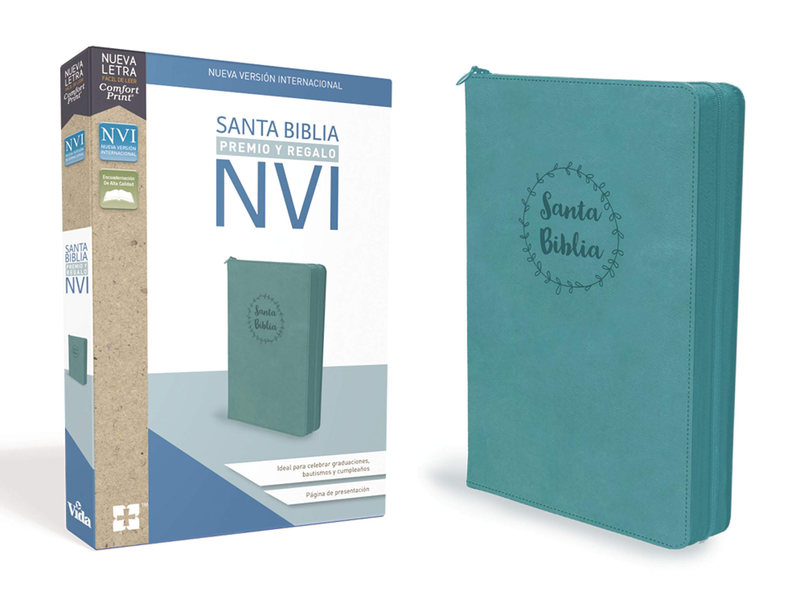 Santa Biblia de Premio y Regalo NVI, Leathersoft, Aqua con Cremallera  (Spanish) Leather Bound – Apr 2 2019