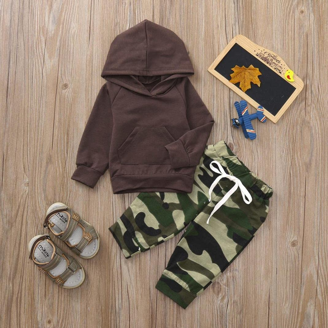 kaiCran Fashion Baby Boys Long Sleeve Clothes Sets Solid Hoodie Sweater Tops+Camouflage Pants Outfits