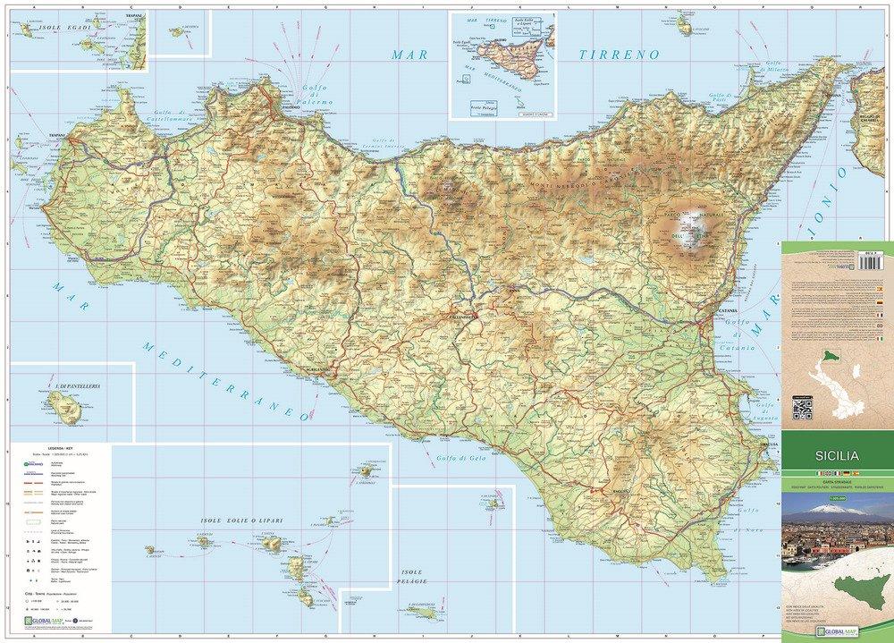 Cartina Geografica Stradale Della Sicilia.Amazon It Sicilia Carta Stradale Della Regione 1 325 000