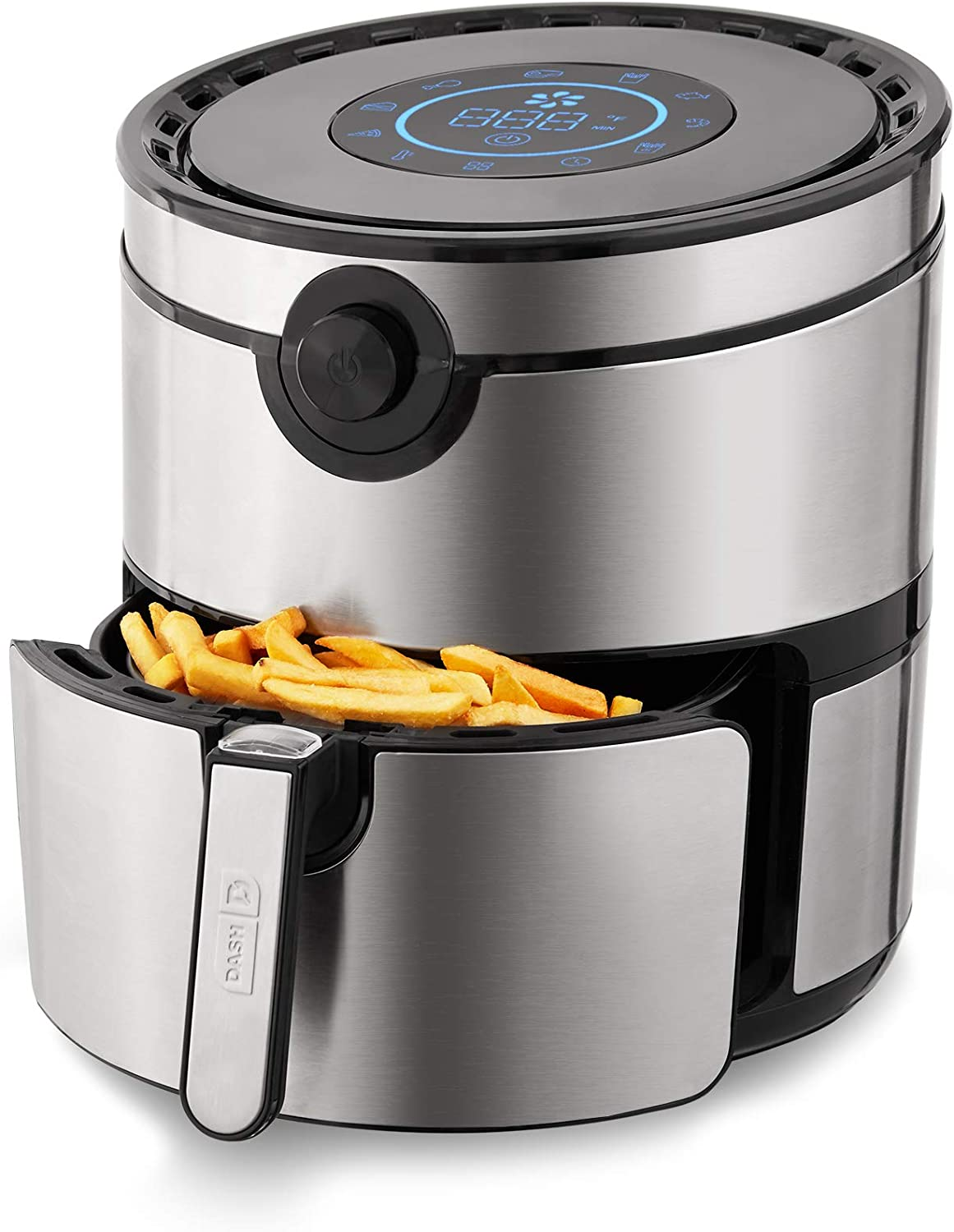 Dash DFAF600GBSS01 AirCrisp Pro Electric Air Fryer + Oven Cooker with Digital Display + 8 Presets, Temperature Control, Non Stick Fry Basket, Recipe Guide + Auto Shut Off Feature, 6qt, Stainless Steel