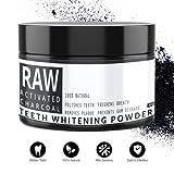 RAW Carbón Activado de Cáscara de Coco 60g para Blanqueamiento de Dientes - Blanqueador Dental 100% Natural - Efectivo para Quitar Manchas y Placa de los Dientes - De Qvene