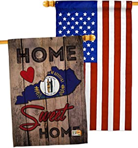 States State Kentucky Home Sweet House Flags Pack Regional USA American Territories Republic Country Particular Area Applique Small Decorative Gift Yard Banner Double-Sided Made In 28 X 40