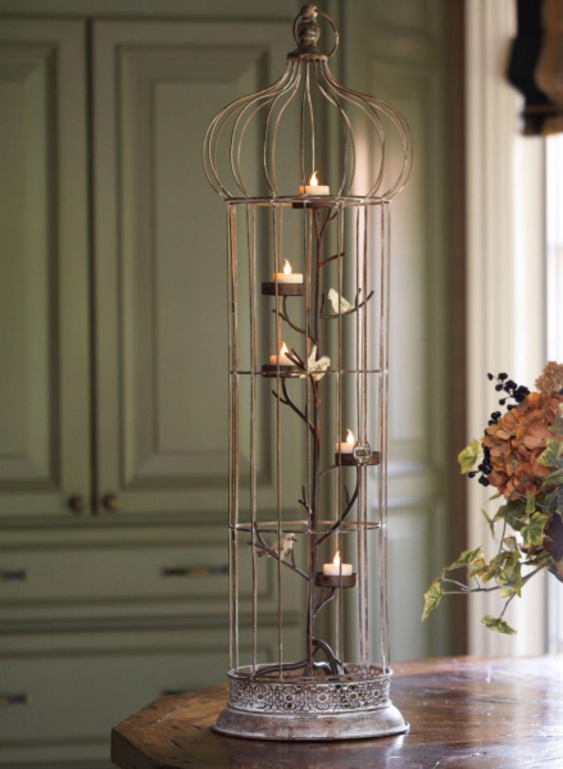 36'' Rustic Chic 5-Tea Light Candle Holder Bird Cage with Spotted Bird Accents