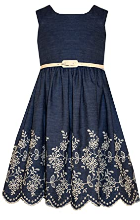 ea5b6730ca56 Amazon.com  Bonnie Jean Girls  Chambray Dress with Embroidered Hem  Clothing