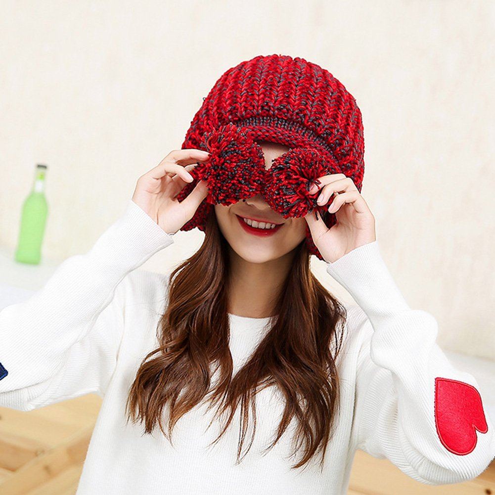 b50722d2bac18 HUAMULAN Women Winter Thick Beanie Hat Ski Ear Flaps Caps Dual Layered  HT013-BeigeBrown larger image