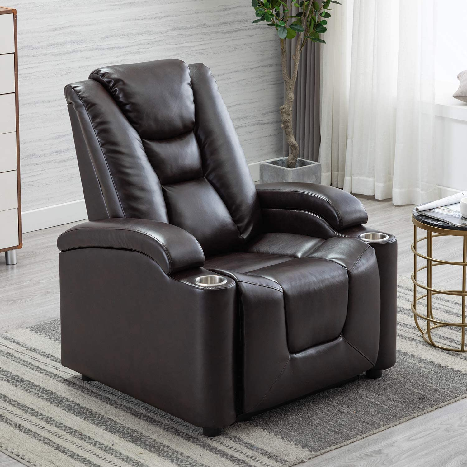 EBELLO Breathable Leather Gel Electric Power Recliner&Headrest, Home Theater Chair with Cup Holder&Storage (Brown)