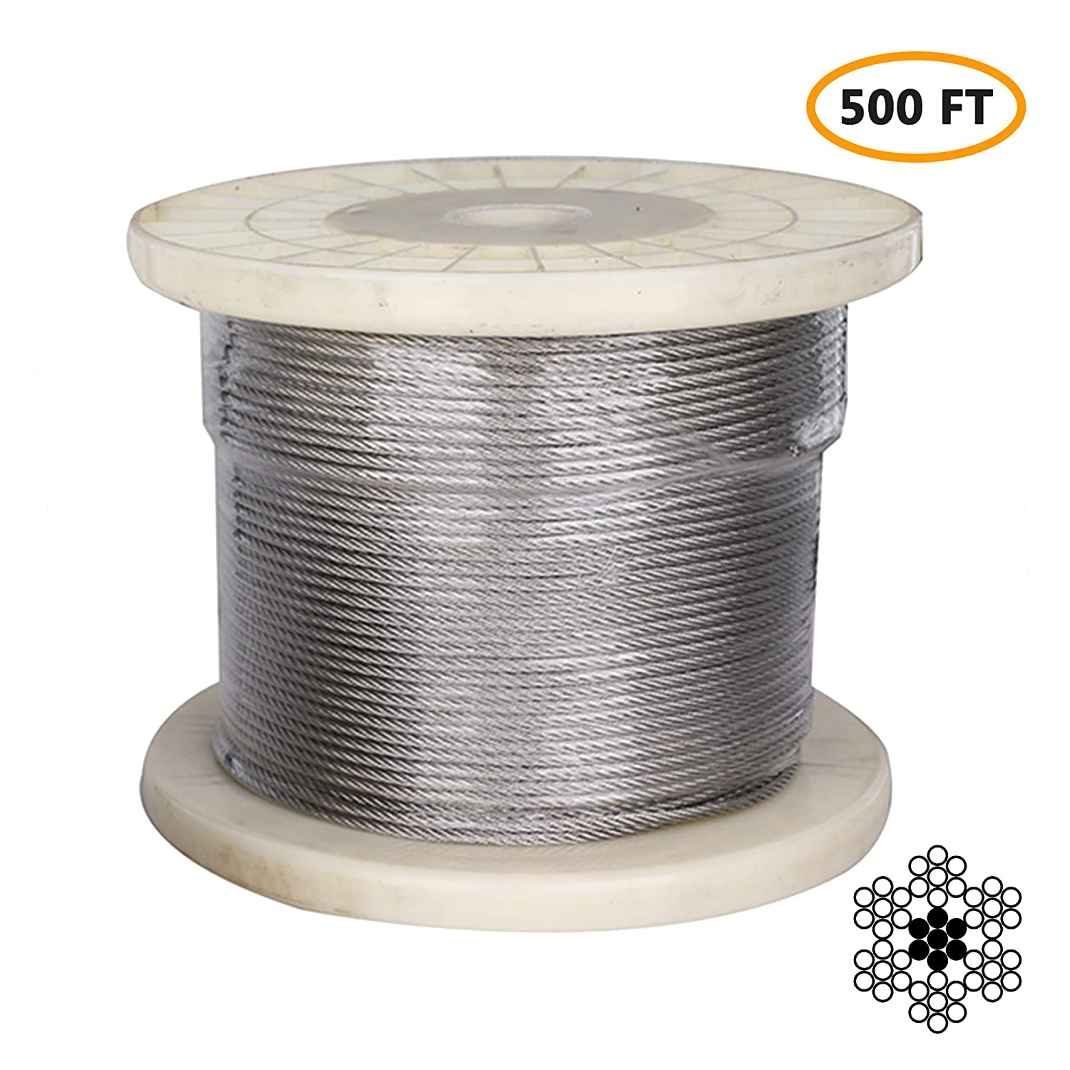 "1/8"" Stainless Steel Aircraft Cable, Marine Grade T316 Stainless Steel Wire Rope, Steel Cable for Deck Railing Stair Railing & DIY Balustrade, 7x7 Braided, 500FT"