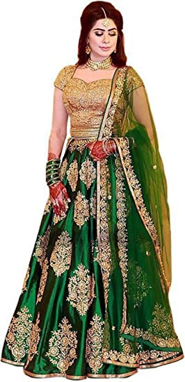f1cec8d8f53 Image Unavailable. Image not available for. Colour  MR Fashion Women s  Taffeta Silk Embroidered Semi-Stitched Lehenga Choli ...