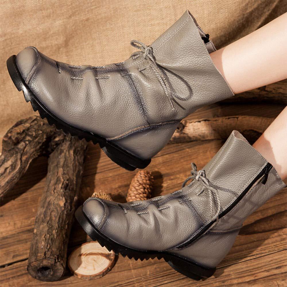 LILICAT❋ Correas de Moda otoño e Invierno Botas de tacón bajo para Mujer Botas Martin, Botines de Cuero Retro para Mujer Botas de Cuero cálido Botas de ...