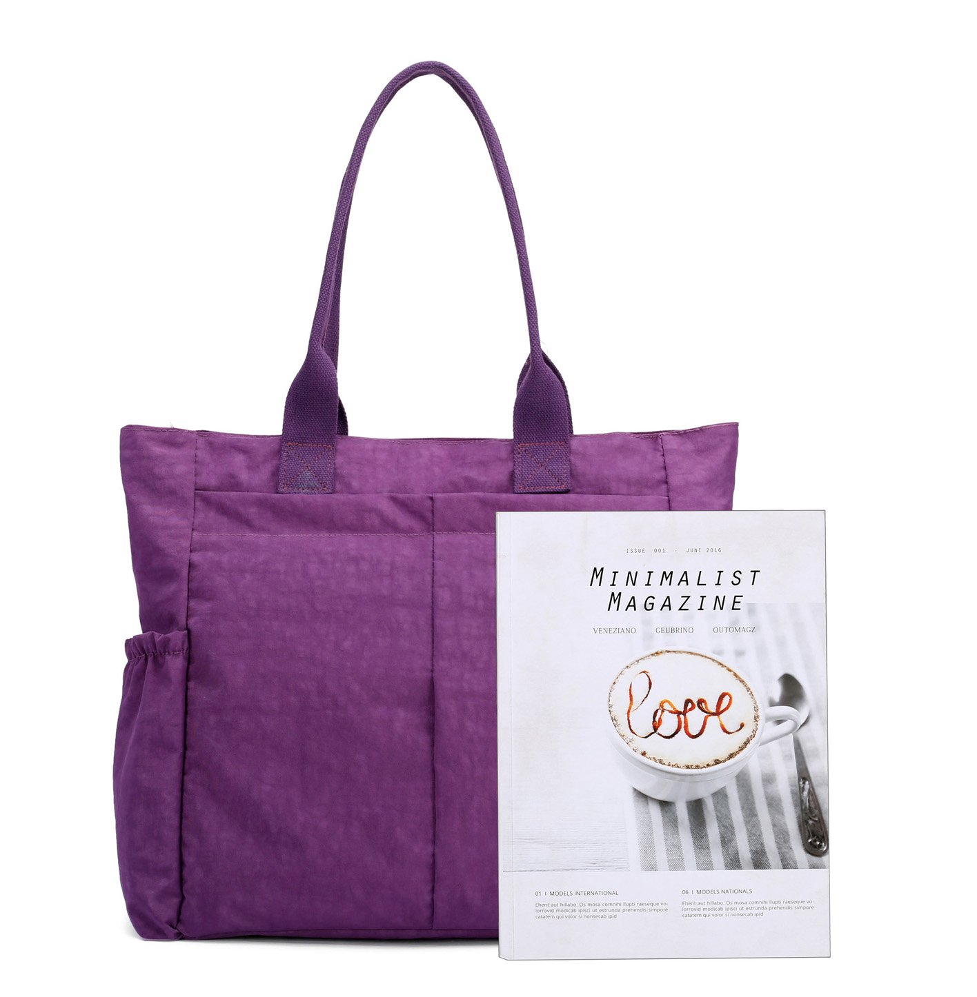 Black HB Nylon Water Resistant Multi Pockets Large Lightweight Tote Bag Shoulder Bag for Gym Hiking Picnic Travel Beach Waterproof Tote Bags