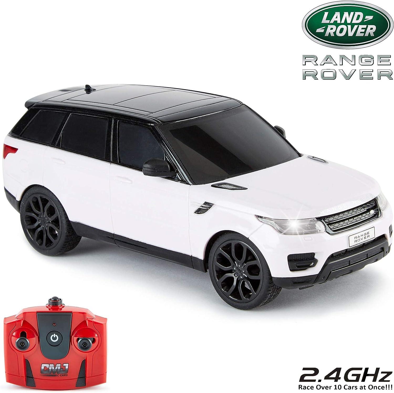 CMJ RC Cars ™ Range Rover Sport Coche de control remoto con licencia oficial Coche 1:24 Escala Luces de trabajo 2.4Ghz Blanco