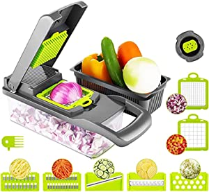 SOUFORCE 12in1 Vegetable Chopper, Multifunctional Onion Chopper with 7 Blades, Upgraded Slicer Dicer Grater Cutter with Container, Include Clean Brush and Hand Guard