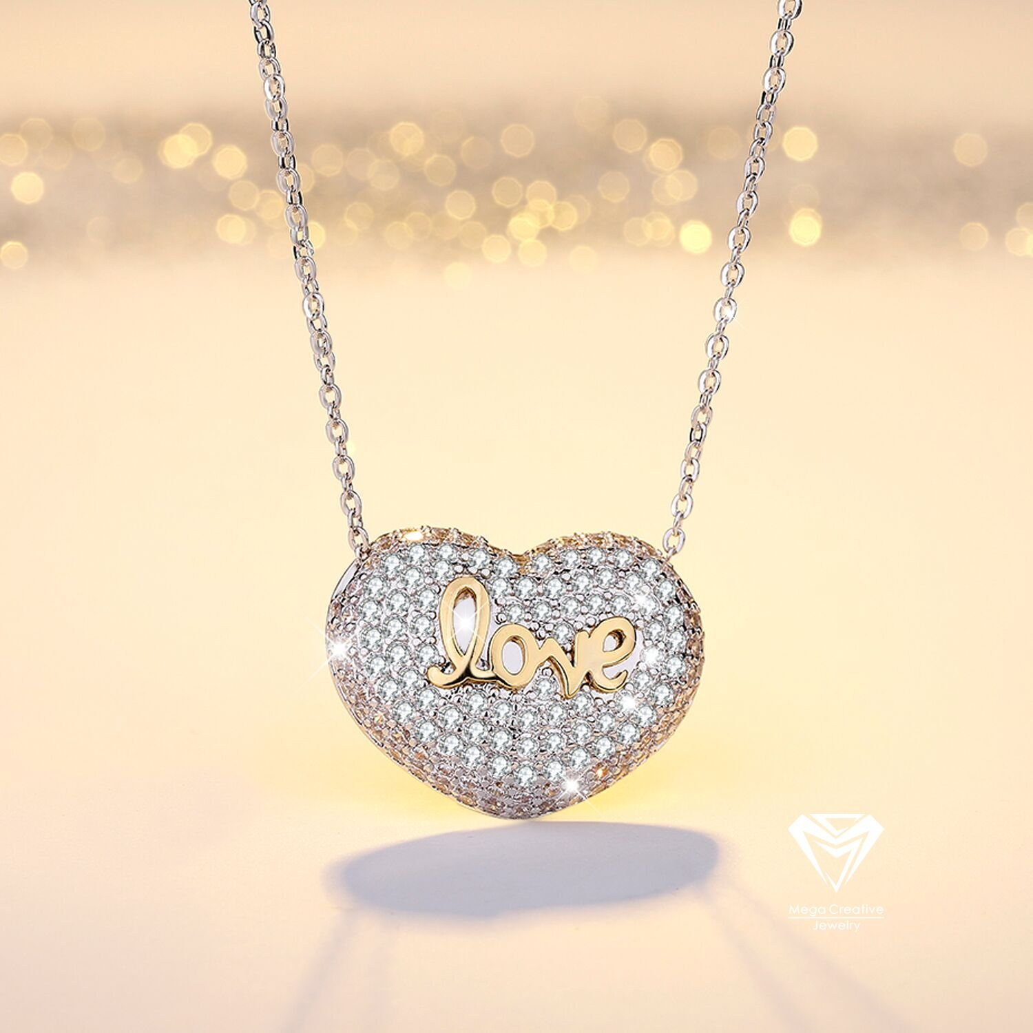 MEGA CREATIVE JEWELRY Heart Necklace Inlaid with Love for Girls Made with Swarovski Crystals Gifts