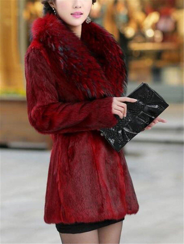 GESELLIE Women Slim Warm Raccoon Faux Fur Collar Fashion Fur Overcoat Outerwear Jacket
