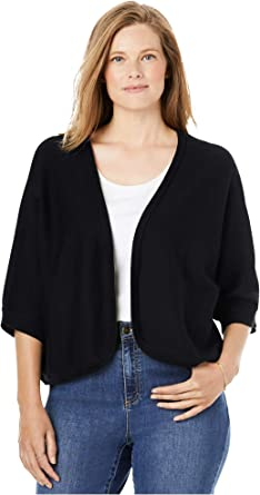 Woman Within Womens Plus Size Rib Trim Cardigan Shrug