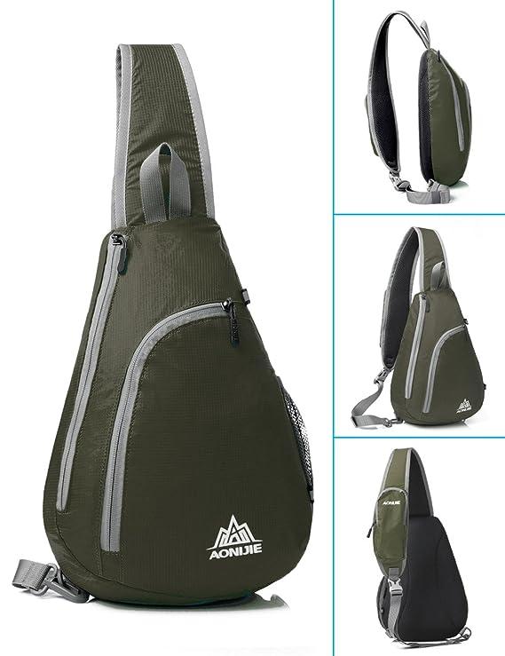 GSTEK Mochila de Hombro Crossbody Mochila para Deportes al Aire Libre, Escuela, Viajes - Army Green: Amazon.es: Deportes y aire libre