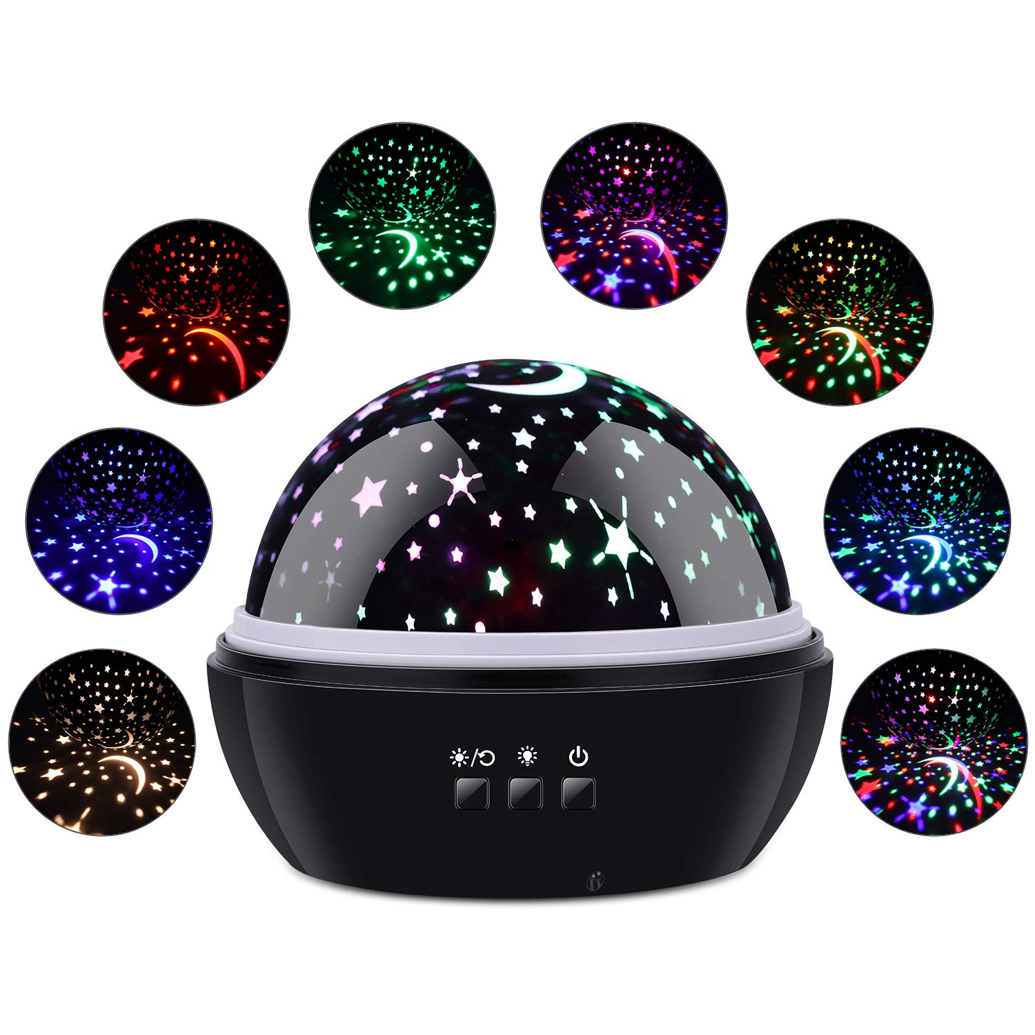 Star Night Light Projector, 2 in 1 Star/Undersea World 360° Kid Night Lamp, Gift for Boys and Girls (Black)