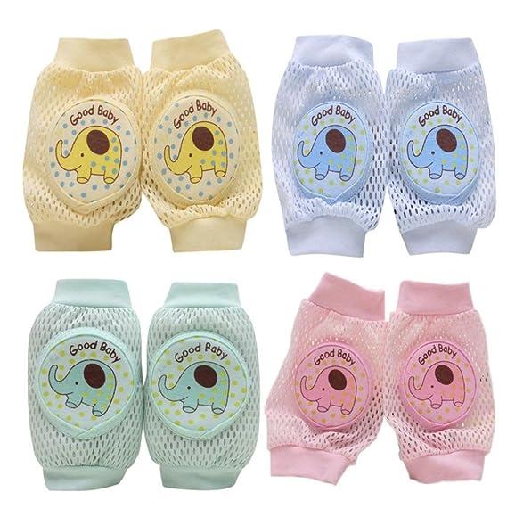 Sannysis 4 Pares de Rodilleras bebe para gatear calcetines de arrastre antideslizantes (elefante)