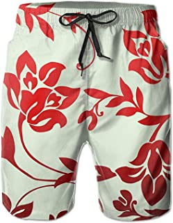Red Floral Men's Beach Shorts Elastic Waist Pockets Lightweight Swimming Board Short Quick Dry Short Trunks