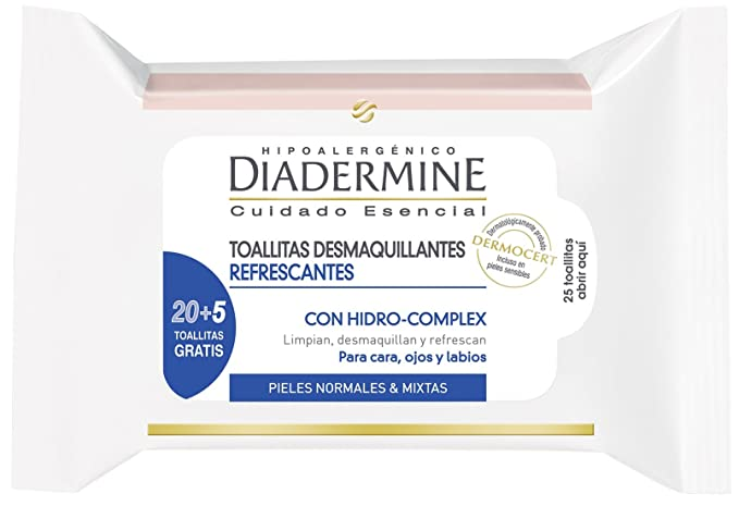 Diadermine - Toallitas desmaquillantes refrescantes pieles normales/mixtas