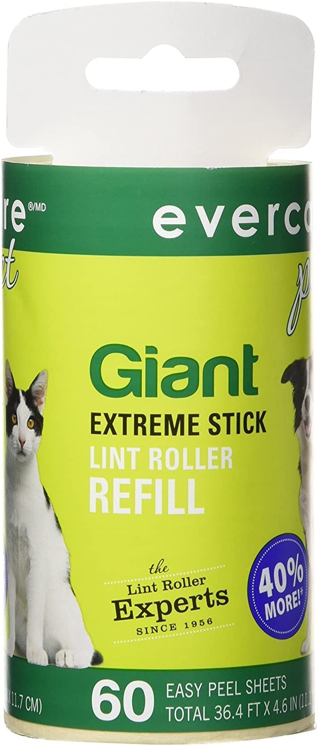 Evercare Giant PET Hair Roller REFILL - 6 Pack: Health & Personal Care