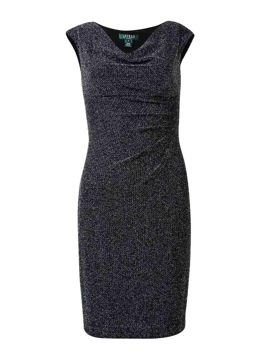 Lauren Ralph Lauren Petite Metallic Cowl-neck Dres Blacksilver (16P)