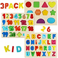 Wooden Puzzles for Toddlers, Aitey Wooden Alphabet Number Puzzles Toddler Learning Puzzle Toys for Kids Ages 3 4 5(Set…