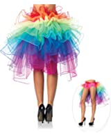 Pixnor Bustle Skirt Women's Layered Dancing Long Tail Skirt Lingerie Bubble Skirt, Rainbow Color, One Size