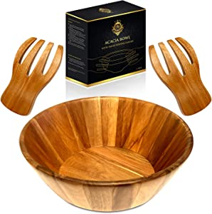 RegaLuxury Acacia Bowl With Salad Serving Hands 12 Inch Diameter X 4 Inch Heigh Perfect Size for 4-5 Salad Portions, for Fruits, Chips or Pasta